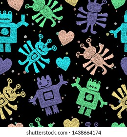 Cute pattern with cartoon hand drawn aliens or kind three-eyed monsters, doodle funny illustration. Pink, blue, yellow and violet funny  many-armed Martians. Design for kids.