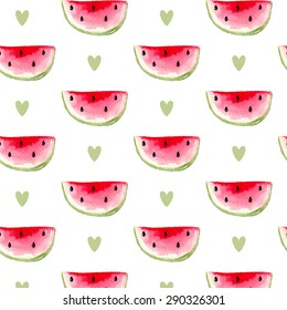 cute pattern with cartoon watercolor watermelon slices with hearts on white background. can be used like pattern for wrapping paper, textile, for greeting cards and party invitations