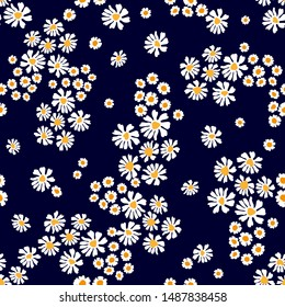 Cute pattern with daisies and chamomiles. Seamless vector print with small flowers. Summer textile collection.