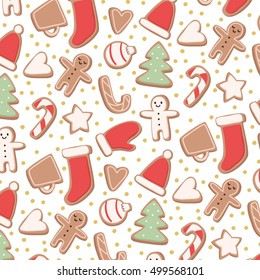 cute pattern with different shapes gingerbread cookies on white background. can be used like pattern for textile, wrapping paper, greeting cards and party invitations or posters