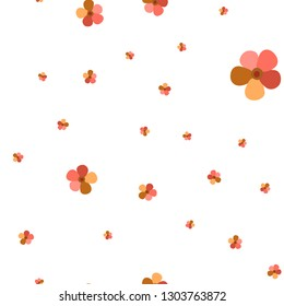 Cute Pattern with Flowers Living Coral color. For your design, textile, pattern fills, posters, cards, background etc. Elements are not cropped. Pattern under the mask. Vector.