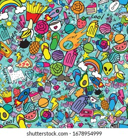 Cute Pattern Girly Aqua background colorful sticker bomb