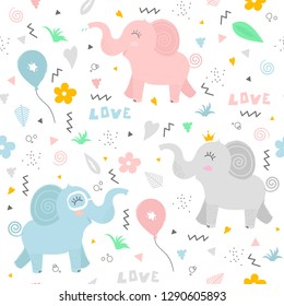 Cute pattern with happy elephants. The gentle and light pattern is ideal for greeting cards, children's textiles, decorating children's rooms and more