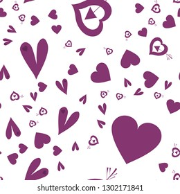 Cute Pattern with Hearts Dark moderate pink color. Endless pattern can be used for design, textile,  pattern fills, posters, cards, web page background etc. Pattern under the mask. Vector.