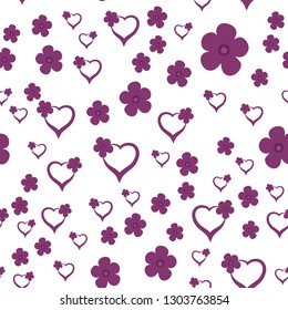 Cute Pattern with Hearts and Flowers Dark moderate pink color. For your design, textile, pattern fills, posters, cards, background etc. Elements are not cropped. Pattern under the mask. Vector.