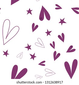 Cute Pattern with Hearts and Stars Dark moderate pink color. This pattern can be used for design, textile,  pattern fills, posters, cards, web page background etc. Pattern under the mask. Vector.