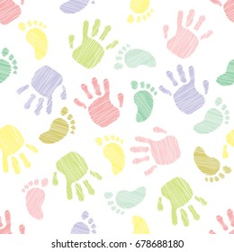 Cute pattern. Imprints of children's hands and feet. vector