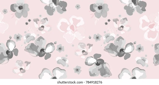 Cute pattern ink flowers. Floral seamless background for textile, wallpapers, wrapping, paper.