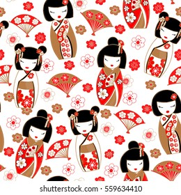 Cute pattern with japanese dolls - kokeshi that bring good luck, prosperity and wealth. Vector illustration.