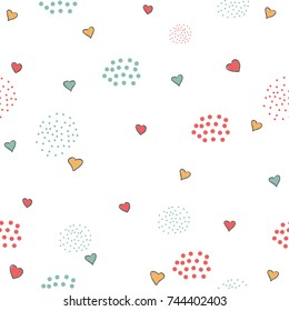Cute Pattern with little hearts and dots on white background. Hand Drawn Design. Great for wall art design, gift paper, wrapping, fabric, textile, etc. Vector Illustration