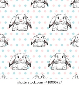 Cute pattern with little rabbits and peas of pastel colors. Vector illustration.