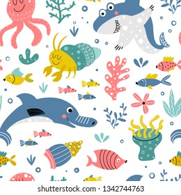 Cute pattern with sea animals and fishes on a white background with sea plants in a cartoon style. Illustration for children in vector.