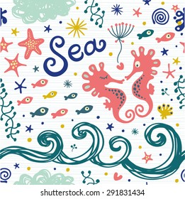 Cute pattern with sea horses, waves, seaweed and starfish. Seamless background for your design.