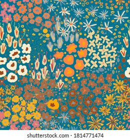 Cute pattern in a small flower. Little colorful flowers. Creative and bright summer silhouette. Abstract seamless doodle leaves and flowers. Background with floral vector modern style color. Cartoon