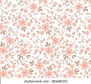 Cute pattern in small flower. Small pink flowers. White background.