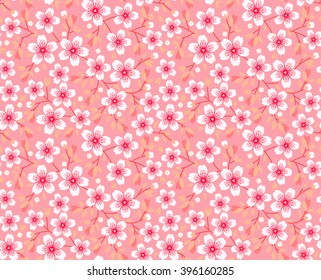Cute pattern in small flower. Pink Sakura flowers, blossoming japanese cherry. Symbol of spring. Small colorful flowers. Pink background. Floral seamless pattern. Small cute simple spring flowers.