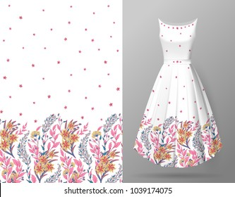 Cute pattern in small flowers and herbs. Seamless vertical background. An example of the pattern of the dress mock up. Vector illustration. Delicate colors plants on white background