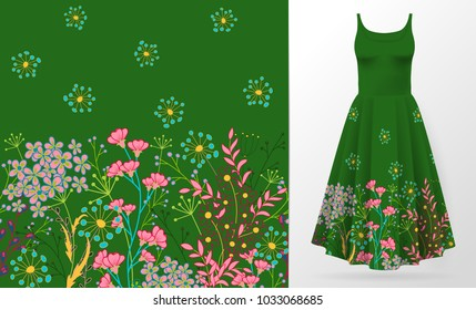 Cute pattern in small simple flowers. Seamless background and seamless border. An example of the pattern of the dress mock up. Vector illustration. Green
