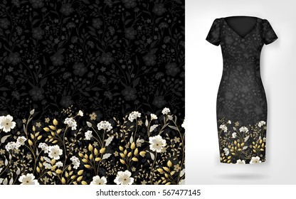 Cute pattern in small simple flowers. Seamless background and seamless border on different file layers. An example of the pattern of the dress mock up. Vector illustration. Gold and white on black