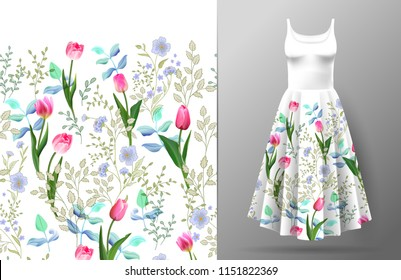 Cute pattern in small wildflowers and tulips. Seamless background and seamless border. An example of the pattern of the dress mock up. Vector illustration.