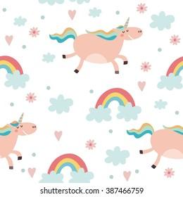 Cute pattern with unicorn