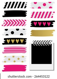 Cute Patterned Washi Tape Stripes. Vector illustration.