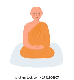Cute Peaceful Buddhist Theravada Thai Monk in yellow robe meditating in lotus posture with closed eyes. Meditation and yoga practicing. Zen. Flat vector character isolated on white background.