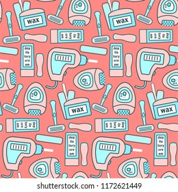 Cute peach color seamless pattern with pink and blue hair removal equipments. Girlish epilatory and depilatory texture for textile, wrapping paper, background, web design