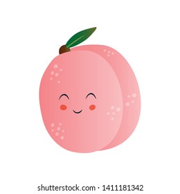 Cute Peach, Funny Fruit Cartoon Character with Funny Face Vector Illustration