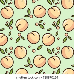 Cute peach pattern. Vector pattern isolated on green background. Print design for textile, posters, greeting cards, cases etc.