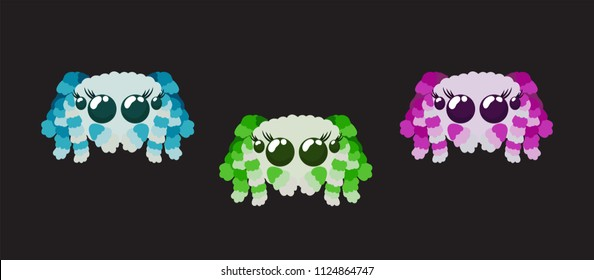 Cute peacock spiders set in red pink, green and blue colors isolated on black vector illustration