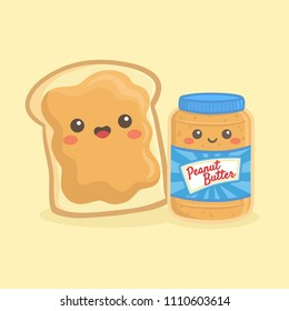 Cute Peanut Butter Bottle Jar and Loaf Bread Sandwich Vector Illustration Cartoon Smile