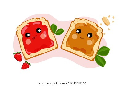 Cute peanut butter and jelly sandwiches. Vector illustration.