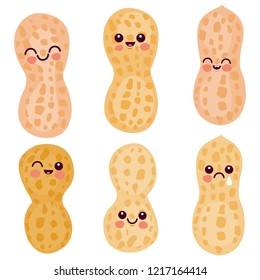 Cute peanut characters. Vector illustration emoticon set.