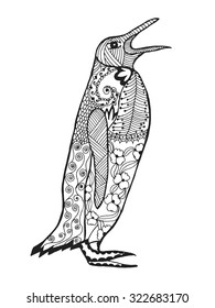 Cute penguin. Adult antistress coloring page. Black white hand drawn doodle animal. Ethnic patterned vector. African, indian, totem tribal, zentangle design. Sketch for tattoo, poster, print, t-shirt