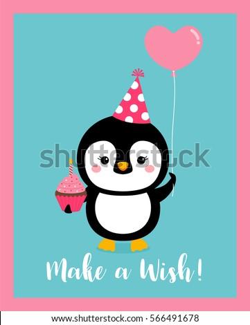 Cute Penguin Cartoon Illustration For Birthday Greeting Or Invitation Card Design Template