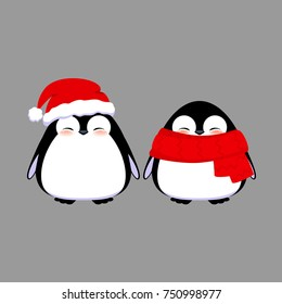 Cute penguin characters isolated on grey background. Happy baby penguins in Christmas hat and scarf.