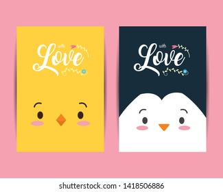 cute penguin chick animals love vector illustration