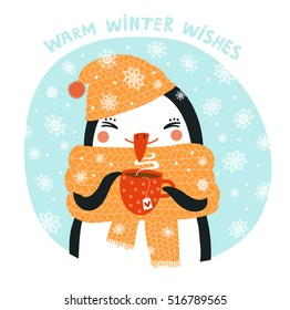 Cute penguin drinking tea or coffee. Christmas card