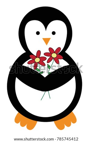 cute penguin flowers stock vector royalty free 785745412
