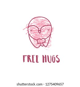 """Cute penguin freehand drawing  sketch with """"Free hugs"""" text. Valentine greeting card. Great for poster,greetings, flyer etc."""