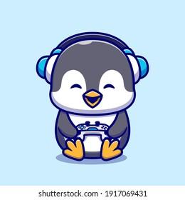 Cute Penguin Gaming Cartoon Vector Icon Illustration. Animal Technology Icon Concept Isolated Premium Vector. Flat Cartoon Style