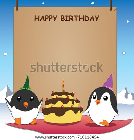 Cute Penguin Happy Birthday Card Winter Stock Vector Royalty Free