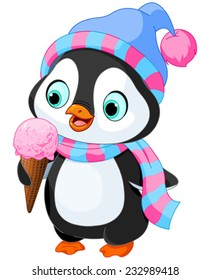 Cute penguin with hat and scarf eats an ice cream