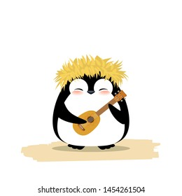Cute penguin in hawaiian yellow grass wreath and ukulele. Summer vector illustration isolated on white background.