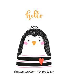 "Cute Penguin and ""Hello"" Word Vector Illustration for Kids. Cartoon Polar Sea Bird. Kawaii Animal t-shirt Print, Baby Shower Card, Nursery Poster, Birthday"