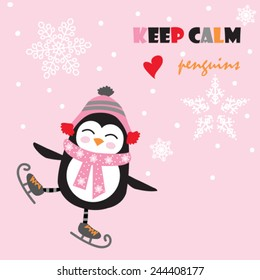 cute penguin with ice skate vector illustration