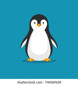 Cute penguin icon in flat style. Cold winter symbol. Antarctic bird, animal illustration.