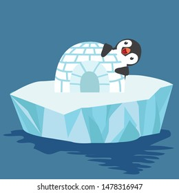 Cute penguin with igloo ice house