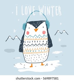 Cute penguin illustration for kids vector illustration  and other uses.